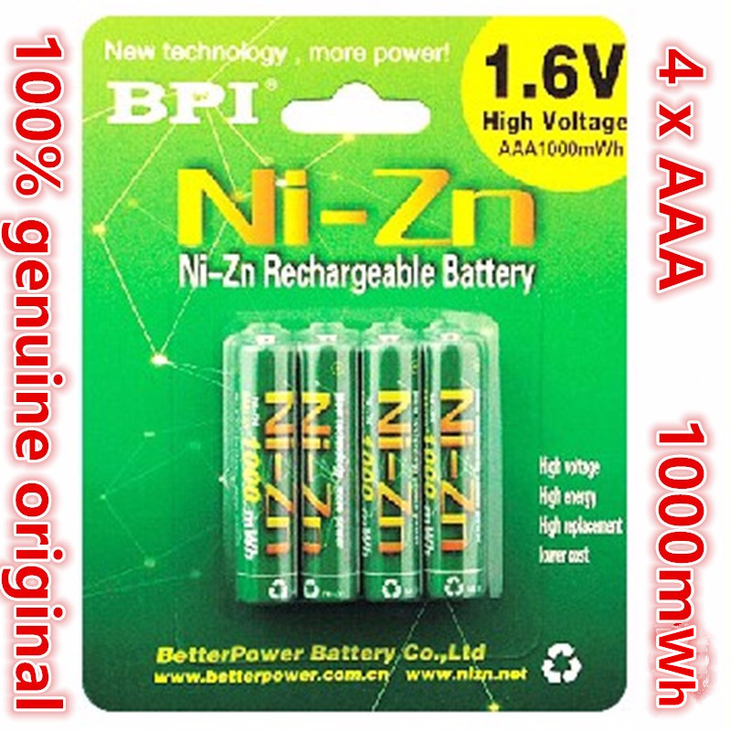 4pcs/lot Original New BPI AAA 1000mWh 1.6V 1.5V NI-Zn NI Zn NIZN Aaa Low Self-discharge Rechargeable Battery 1.6V