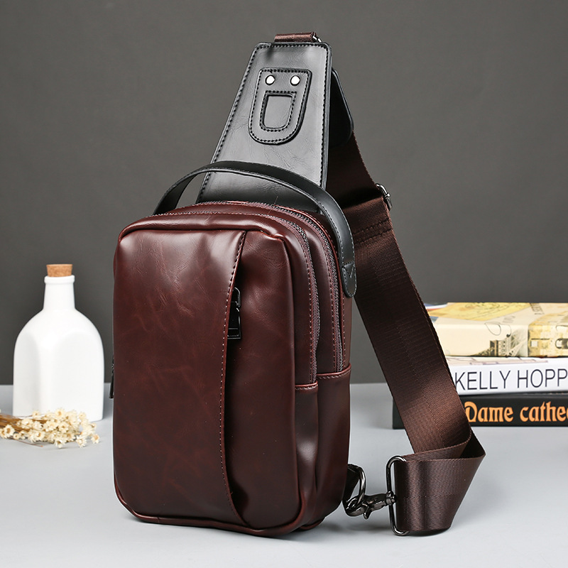 2016 men crazy horse leather shoulder bag casual package thoracic man satchel tide chest pack