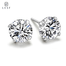 LESF 925 Sterling Silver Stud Earrings For Women 1.25 ct Classic  Four Prong Zirconia Earring Wedding Engagement Bridal Jewelry