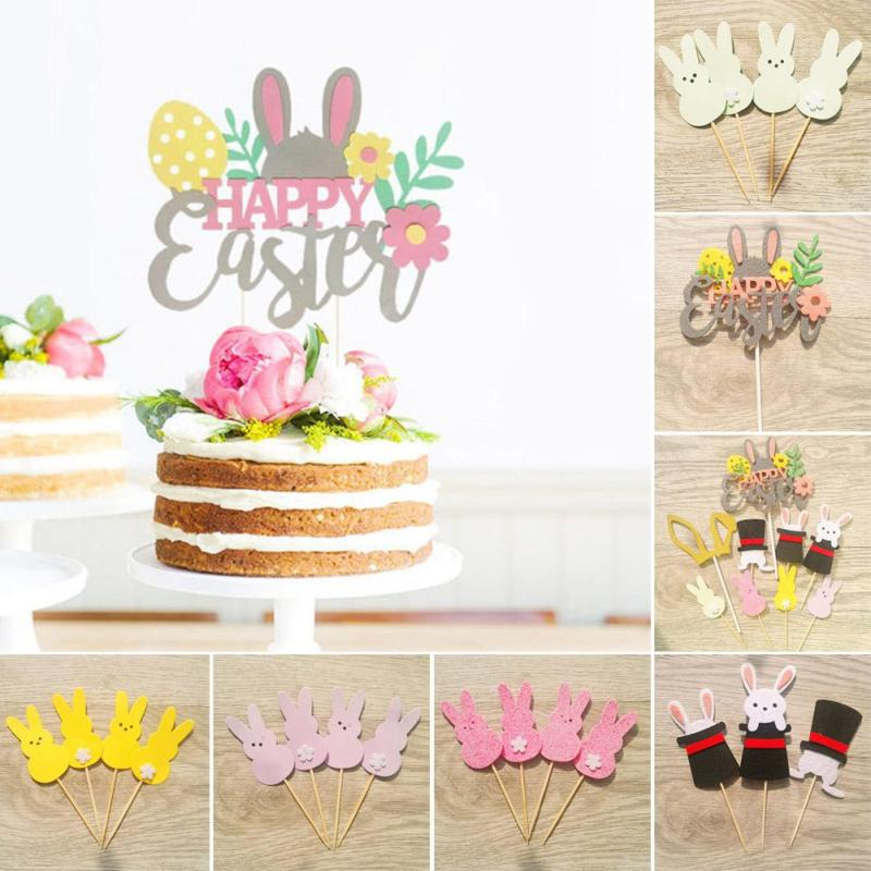Cartoon Rabbit Cupcake Cake Topper Happy Easter Cake Flags Baby Shower Kids Birthday Party Cake Decoration Supplies Cake Decor