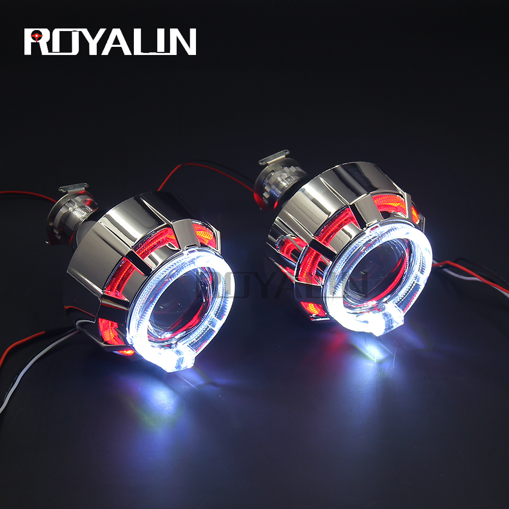 royalin led drl double angel eyes halo rings mini projector lens bi xenon h1 headlight shrouds white red h4 h7 auto lamps diy ROYALIN Mini Bi Xenon Projector Lens LED DRL Angel Eyes Double Halo Rings For Motorcycle Auto Head Light H4 H7 Use H1 bulbs 2.0