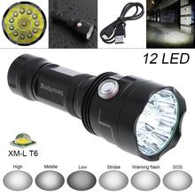 SecurityIng LED Waterproof Flashlight Super Bright 12x XM-L T6 LED 5000 Lumens with USB Line,6 Modes Light for Household/Outdoor