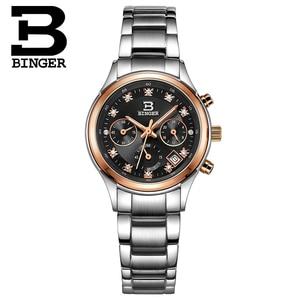 Image 3 - Switzerland Binger womens watches luxury quartz waterproof clock full stainless steel Chronograph Wristwatches BG6019 W3