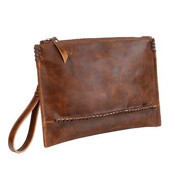 Xiao. P Vintage Crazy Horse Leder Männer Umschlag Kupplung Taschen Business Männer Kupplung Taschen Große Kapazität IPAD Tasche