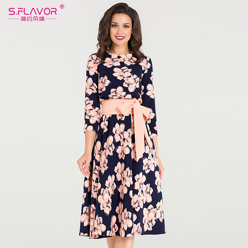 S.FLAVOR 2018 Autumn Party vestidos Women O-Neck mid-calf Dress spring three quarter sleeve Floral Print Vintage Dress no pocket