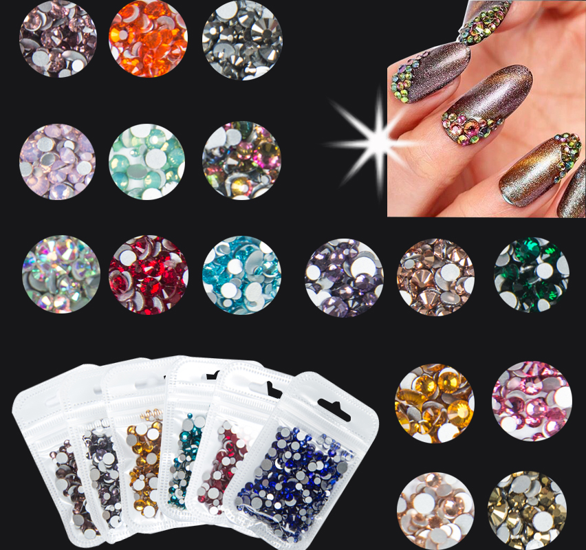 400pcs/Bag Nail Art HotFix Rhinestone Crystal AB Color DIY Flatback Glass Hot Fix Rhinestones Decoration Stones