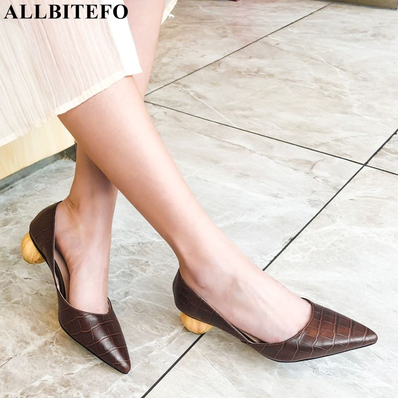 ALLBITEFO Snake texture genuine leather women high heel shoes spherical heel fashion sexy girls spring high heels women heelsALLBITEFO Snake texture genuine leather women high heel shoes spherical heel fashion sexy girls spring high heels women heels