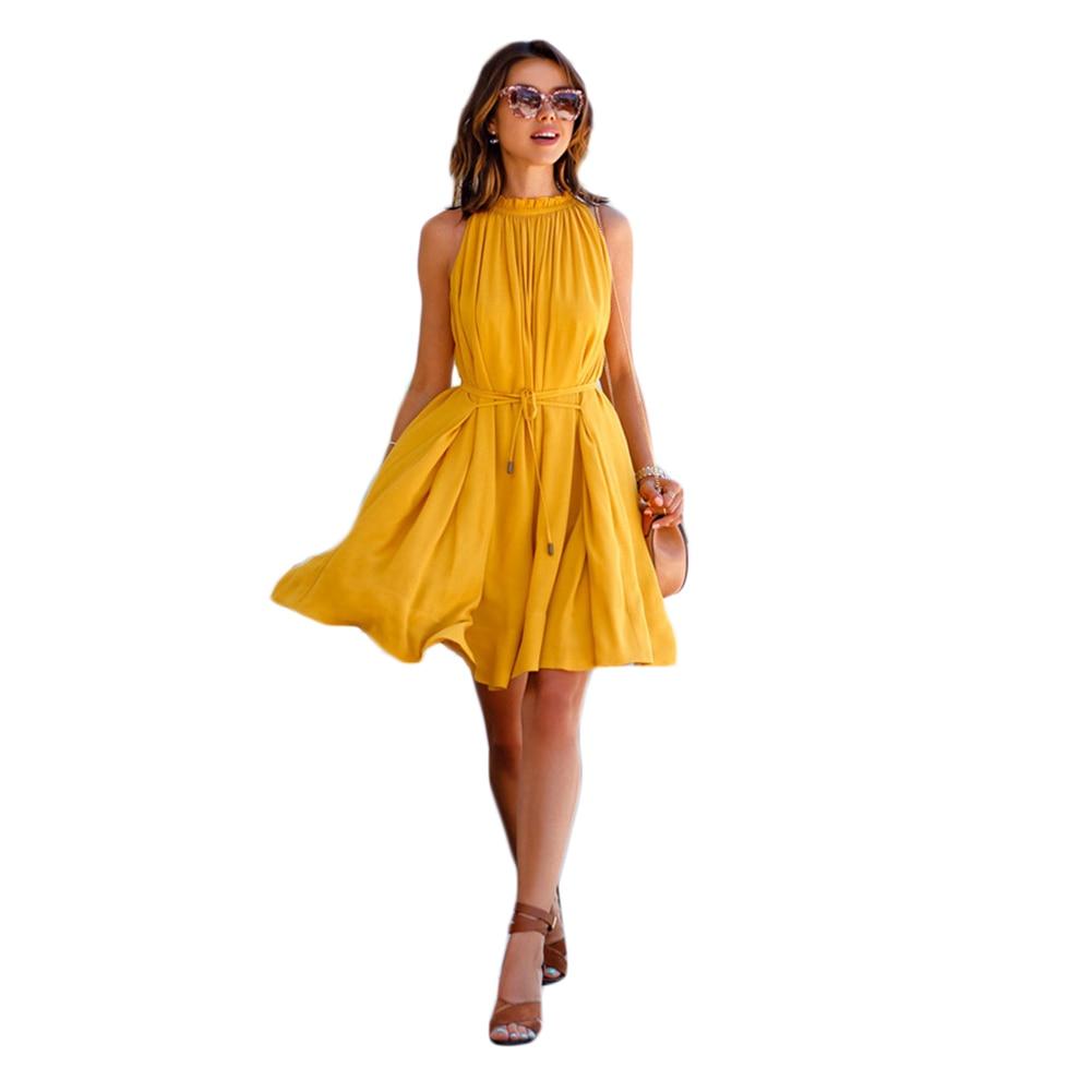 Summer Yellow Halter Neck Sleeveless Pleated Dress Solid Color Elegant Pocket Dresses With Belt Slashes Beach Cool Women Dresses