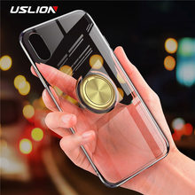 Hide Ring Stand Holder Case For iPhone 7 8 Plus Clear TPU Silicone Phone Cases for iPhone X 8 7 6 6s Plus Soft Back Cover Coque(China)