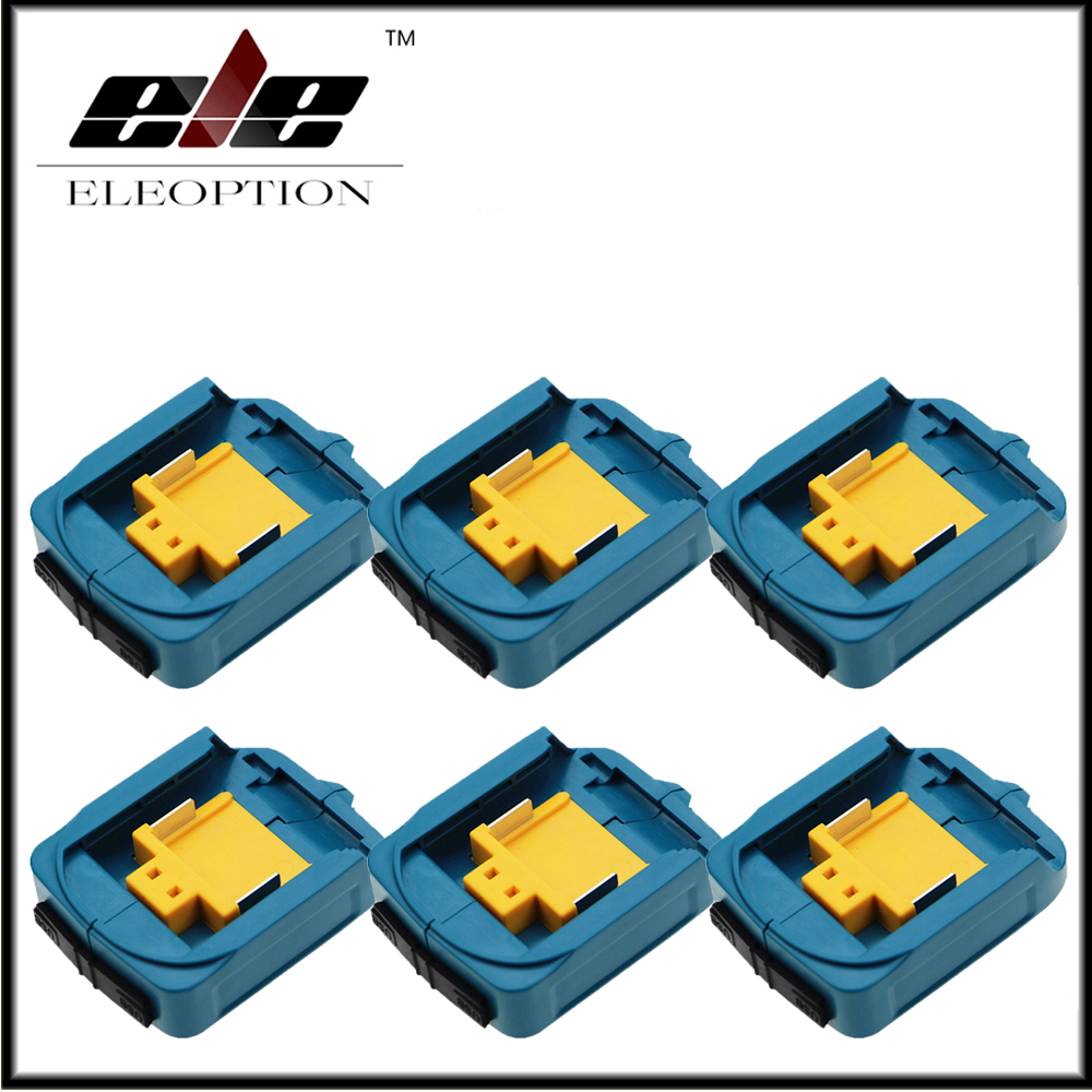 6x Eleoption USB Power Charger Adapter Converter And Devices Charger Compatible For Makita <font><b>18V</b></font> 14.4V Lithium-Ion Battery image