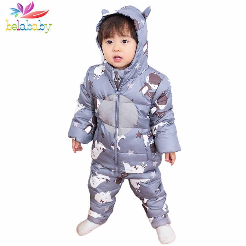 Belababy Children's Clothes Sets Winter Down Jacket+Trousers 2PCS Suit Hooded Long Sleeve Warm Cartoon Print Toddler Clothing raglan sleeve tribal print hooded zip up jacket