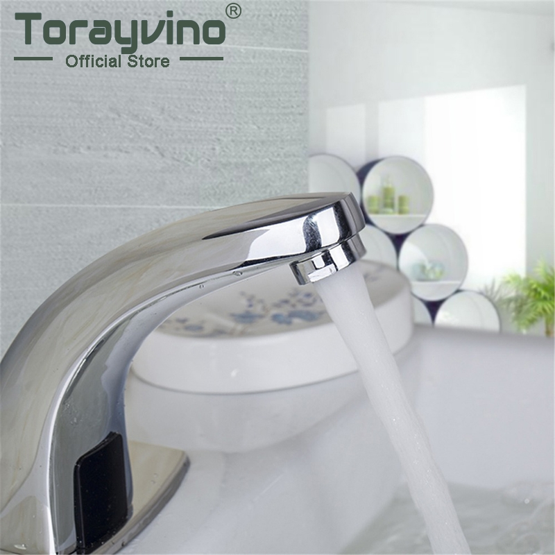 Bathroom Automatic Sensor Basin Faucet Electronic Hands Single Cold&Hot Water Touchless Sensor Faucets Sensor Faucet Tap 100% copper cold and hot water mixer sense faucet automatic sensor faucets basin hand washer dc6v ac110 220v dona4215