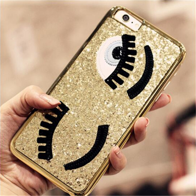 best service 7fe98 4ce1c US $5.18 |Fashionable Case Chiara Ferragni Luxurious Bling Flirting Eyes  Glitter Phone Cover Shell For Couqe iPhone 5 6 6s 6sPlus 7 7plus on ...