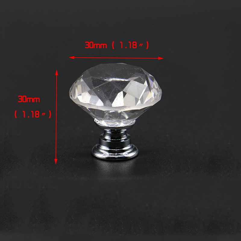 KAK 20-40 мм Алмазная форма дизайн Хрустальные стеклянные ручки шкаф выдвижной ящик Кухонный Шкаф Дверь Шкаф ручки Фурнитура