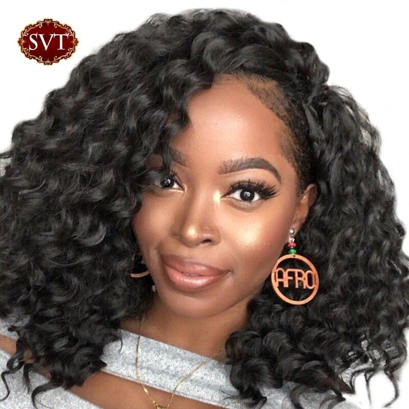 SVT Bob Lace Front Wigs For Black Women Short Human Hair Wigs Brazilian Deep Wave Human
