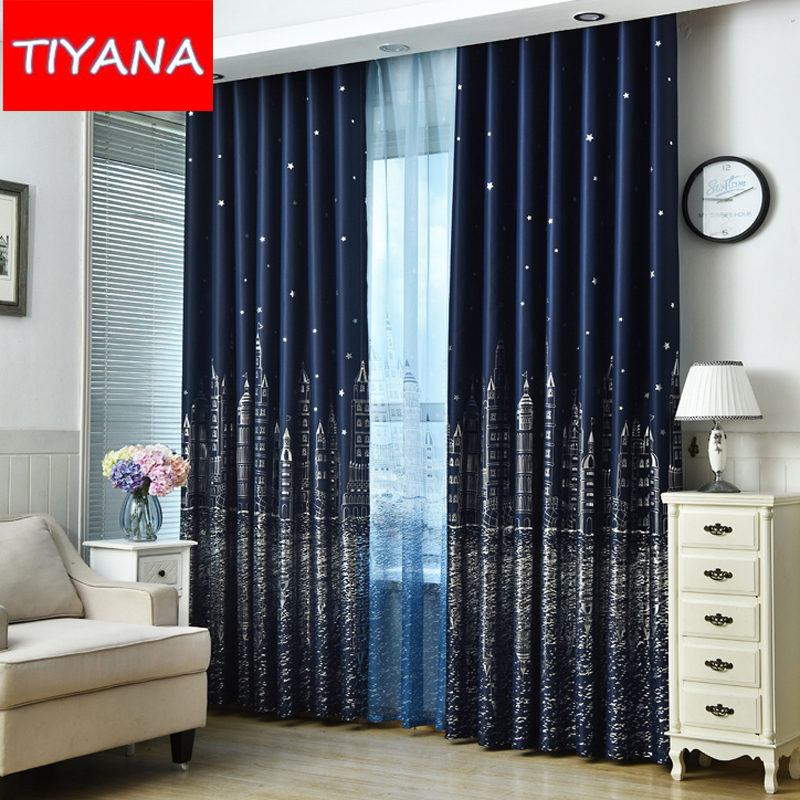 blue star castle high shading curtains for child room cartoon curtains tulle for baby boys bedroom - Blackout Shades Baby Room