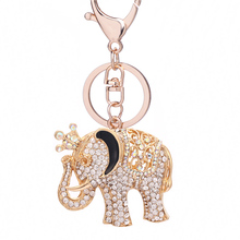 Rhinestone Crown Elephant Key Chain Ring Holder Novelty Charm Car Keyfobs Women Bag Pendant llavero Creative Jewelry Gifts R100