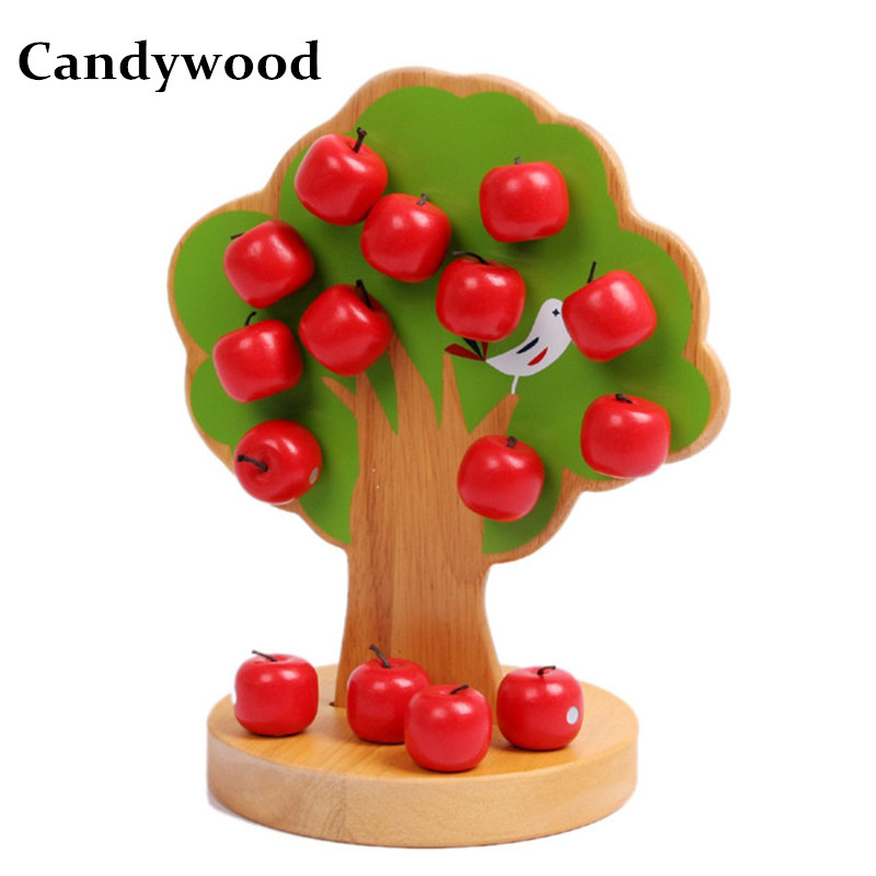 Candywood Baby kids Montessori Educational Wood Magnetic Apple Tree Family Game Early Learning Math Toy for girl gift funny fishing game family child interactive fun desktop toy