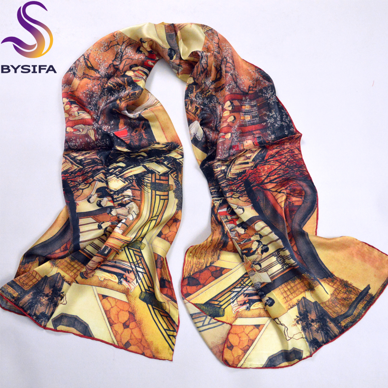 Autumn Winter Pure Silk Scarf Shawl Coffee Ladies Long Scarves Printed Hand Roll-hemmed 100% Silk Scarf 178*55cm zwj02