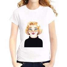 Marilyn Monroe in cat design funny T-Shirt Women Short Sleeve o-neck t shirt soft Breathable casual  tshirt