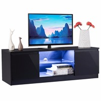 Giantex High Gloss TV Stand Unit Cabinet Media Console Furniture with LED Shelves Living Room Storage TV Cabinets HW56644BK