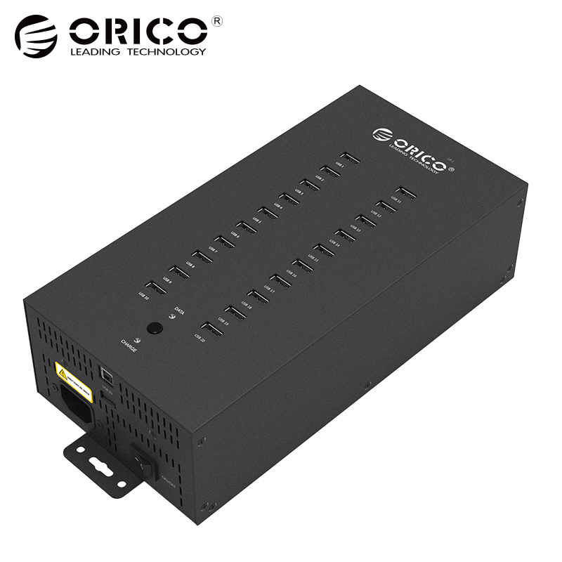 ORICO IH20P USB HUB 20 USB Ports Industrial USB2.0 HUB USB Splitter with 2 Models Data transmission or USB Charger orico usb hub 7 ports 5 gbps usb3 0 hub splitter support bc1 2 charging with 12v dc charging port