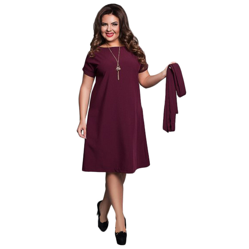 f33f9f6e330 QMGOOD 6XL Large Size Fat MM Summer Dress Solid Color High Waist Fat Female  Short Sleeves Party Dress Plus Size Women Clothing-in Dresses from Women s  ...