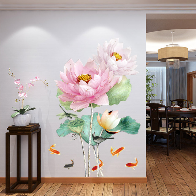 Chinese Style Lotus Flower 3d Wallpaper Wall Stickers Living Room