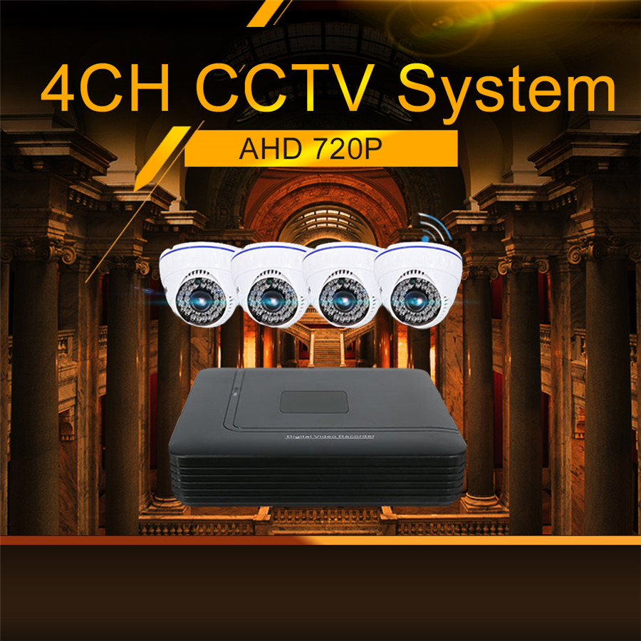 Hiseeu IP Camera DVR System Kit AHD 720P 4 Channel CCTV DVR HVR NVR 3 in 1 Video Recorder Infrared Dome Camera Security Set 48