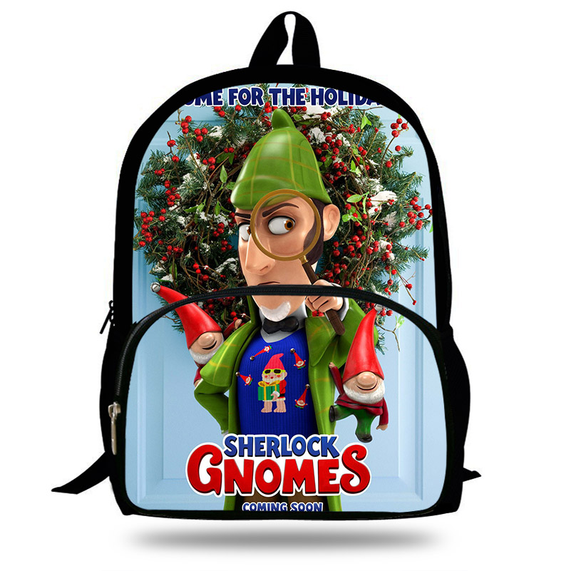 Cartoon Sherlock Gnomes Backpack For Kids Gnomeo & Juliet Print Bag For Children Boys School Bags Backpacks For Teenagers Girls