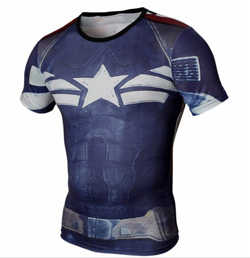 2015 marvel captain america fitness men t shirt tight superman compression batman t shirt homme. Black Bedroom Furniture Sets. Home Design Ideas