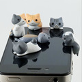 6 Pcs/ Lot Wholesale Cute Cat Dust Plug Phone Anti 3.5mm Universal for HTC Samusng iPhone 4/4s Headphone Dustproof Free Shipping