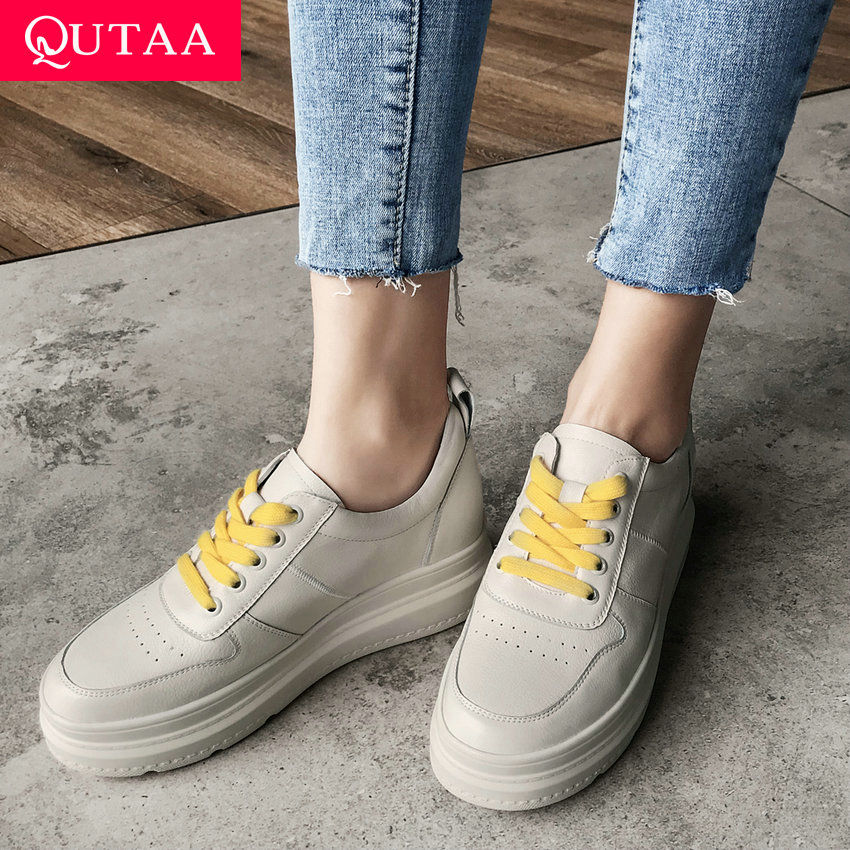 QUTAA 2019 Cow Leather+pu Fashion Women Shoes Platform Lace Up Platform Round Toe Women Pumps Fashion Women Pumps Size 34-39QUTAA 2019 Cow Leather+pu Fashion Women Shoes Platform Lace Up Platform Round Toe Women Pumps Fashion Women Pumps Size 34-39