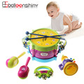 Conciertos de bebé Niños Sonajeros de Regalo Set 5 unids Trompeta Cabasa Campanilla Tambor Instrumentos Musicales Band Kit de Juguetes Educativos