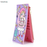 Bentoy Cartoon Leather Women Passport Holder Travel Credit Card Package Holder Organizer Unisex Wallet Card Case