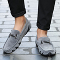 O16U NEW Men Casual Shoes Genuine Leather Slip on Luxury Male Brand Moccasins Gray Black Men Flats Driver Loafers Shoes Spring