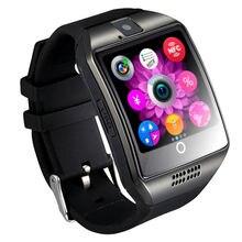 2018 Nova Bluetooth Inteligente relógio Passometer Q18 Esporte Anti-perdida com Tela Sensível Ao Toque Câmera TF Cartão Smartwatch para Android pk DZ09 A1