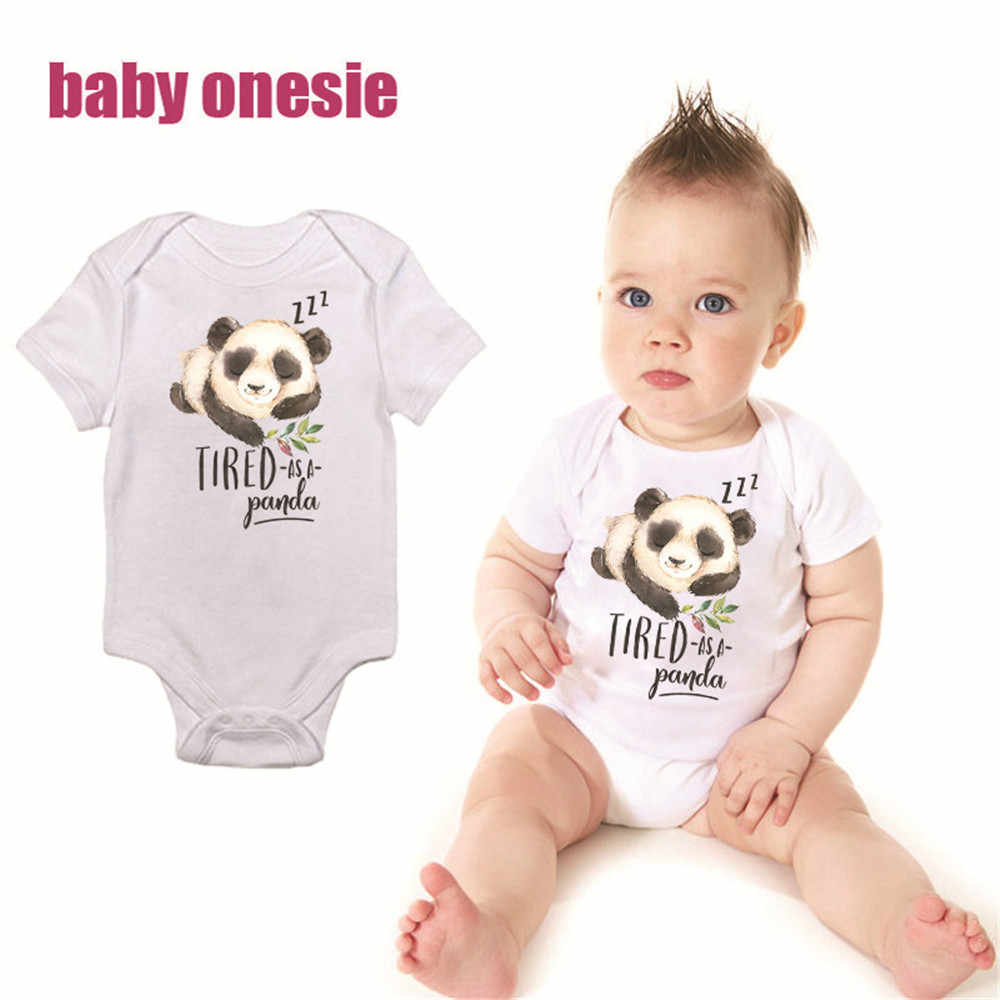 f3620019d6f Baby Boy Girl Bodysuit Summer Clothes Panda Printed Short Sleeve Jumpsuit  Infant Clothing Cotton White Onesie