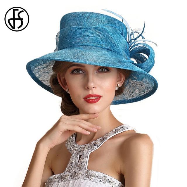 FS Summer Sky Blue Wedding Hats For Women Elegant Floral Linen Kentucky  Derby Wide Brim Party Hat Chapeau Mariage 17d36625b6e
