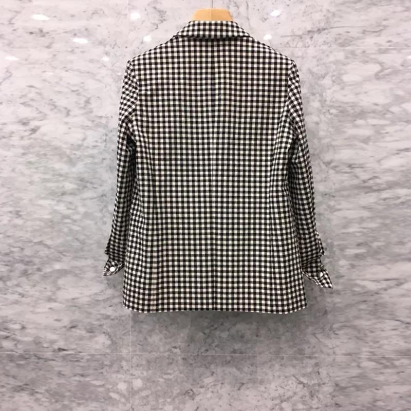 High Quality Plaid Office Blazer Women Single Breasted Sashes Women's Jackets Blazer Spring Autumn Long Sleeve Blazers Female