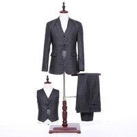 Классические новый серые клетчатые Для мужчин Свадебный костюм и Для Мужчин's Бизнес офисные профессиональный набор 3 комплекта (куртка + шт