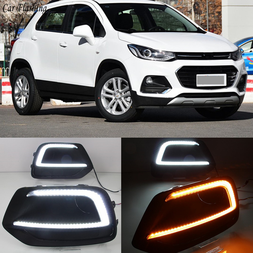 2pcs For Chevrolet Trax 2017 2018 Yellow Turn Signal Relay Waterproof Car DRL Lamp 12V LED