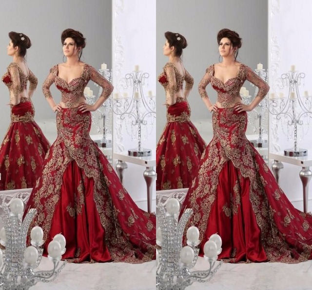 3853094357 India Style Evening Dresses Sweetheart Three Quarter Sleeve Mermaid Floor  Length Prom Dresses Applique Two Piece Robe De Soiree