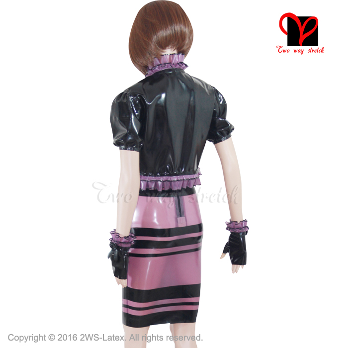 Sexy Latex kleid Jacke Gummi Kleid handschuhe coa anzug separaten ...