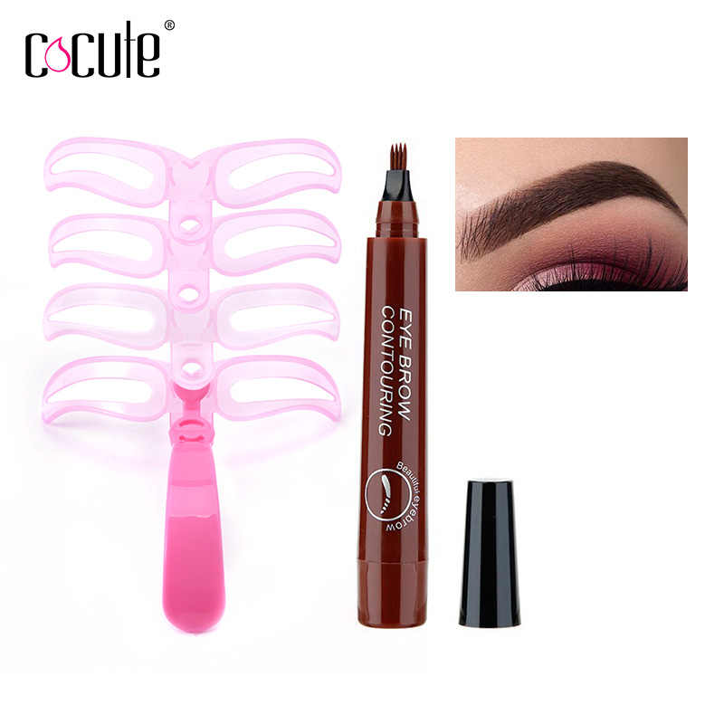 Professional Makeup Set Eyebrow Pencil Waterproof Long lasting Eyebrow Pen 4 Shapes Eyebrows Stencils Painting Eyebrow TintTool