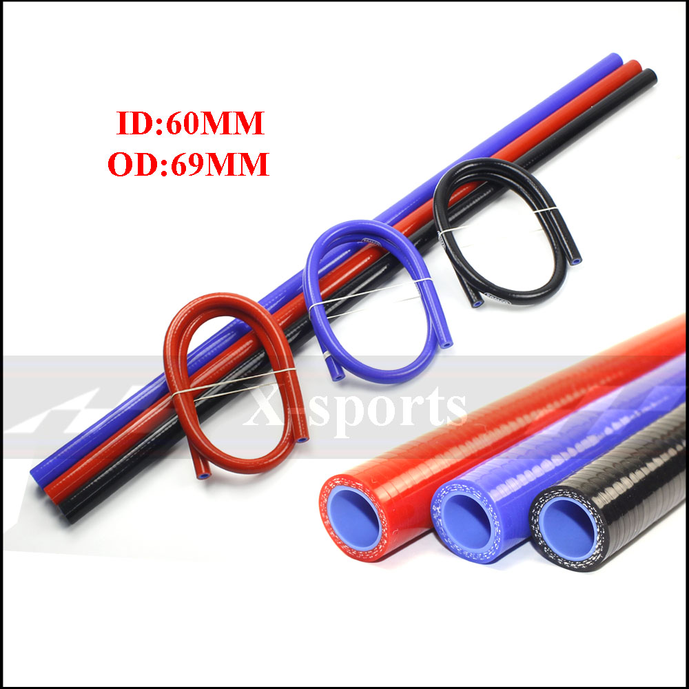 I.D 60mm OD 69MM Car Silicone Hose High Quality Radiator Intercooler Universal Braided Tube 1 Meter Free Shipping Red Blue Black image