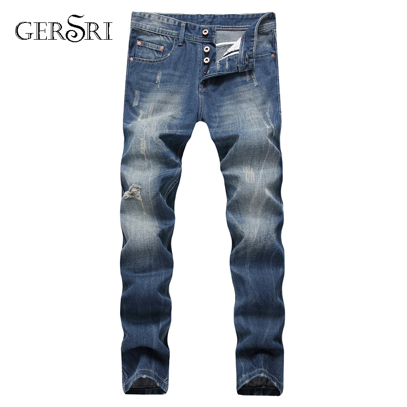 Gersri Jeans Men Spring And Autumn Ripped Distressed Straight Slim Painted Printed Stretch Biker Jeans Brand Male Trousers