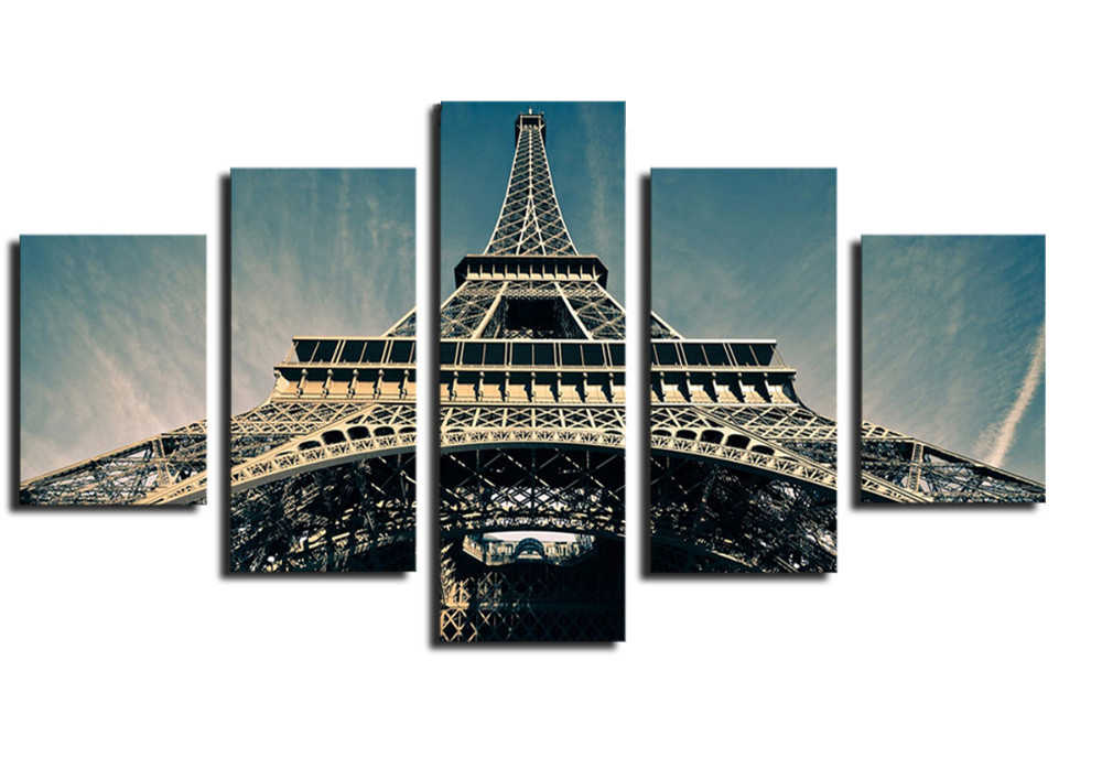 5 Piece Hot Sell Eiffel Tower Modern Home Wall Decor Canvas picture Art HD Print Painting Set of 5 Each Canvas Arts Poster