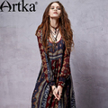 Artka Women's Spring Bohemian Deep O-Neck Drawstring Cinched Waist Frilled Swing Long Sleeve Light Chiffon Dress LA14356C