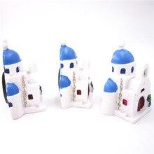 3Pcs Greece Craft 3D Resin Fridge Magnet Set Blue Roof Greek Church in Santorini Country World Travel Magnetic Massage Sticker